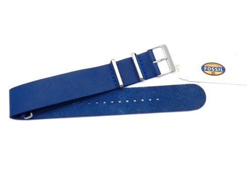 Fossil Blue Leather 22mm Watch Band