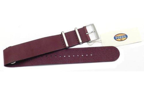 Fossil Maroon Leather 22mm Watch Band