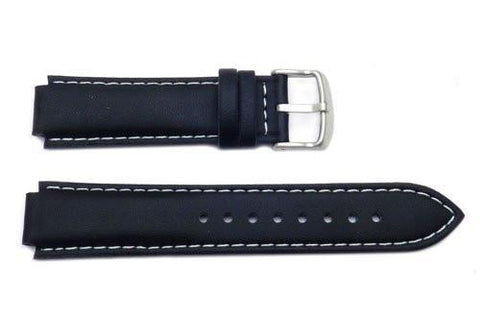 Genuine Casio Black Textured Leather Watch Strap With White Stitching - 10171171