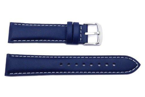 Genuine Casio Blue Textured Leather Watch Strap With White Stitching - 10171180
