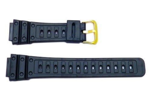 Genuine Casio Black Resin 26/18mm Watch Band With Gold Tone Buckle - 70360128
