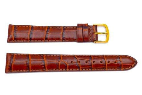Hadley Roma Brown Genuine Italian Calfskin Long Alligator Grain Watch Strap