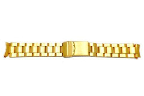 Hadley Roma Rolex Submariner Style Gold Tone Solid Link Watch Bracelet - Curved End