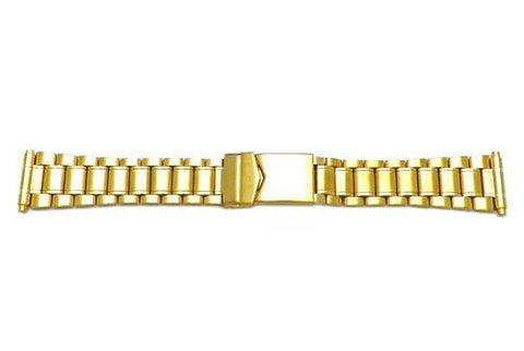 Hadley Roma Men's Gold Tone Brushed and Polished Watch Bracelet Size 18-22mm