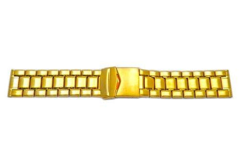 Hadley Roma Wide Gold Tone Solid Stainless Steel Watch Bracelet