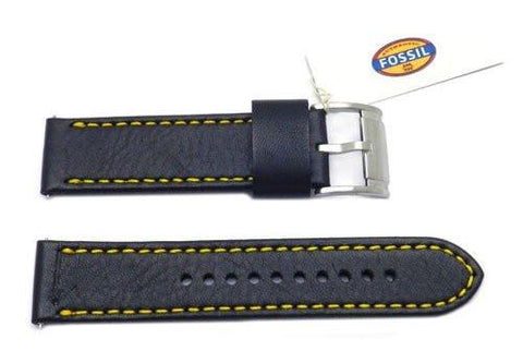 Fossil Black Genuine Smooth Leather 22mm Watch Band With Yellow Stitching