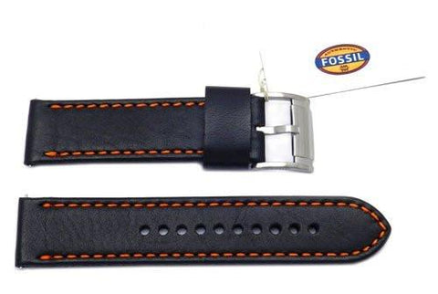 Fossil Black Genuine Smooth Leather 22mm Watch Band With Orange Stitching