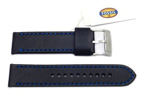 Fossil Black Genuine Smooth Leather 22mm Watch Band With Blue Stitching