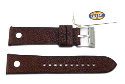 Fossil Dark Brown Soft Pebble Leather 22mm Watch Band