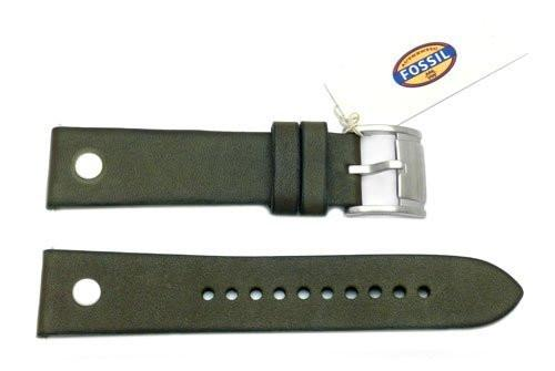 Fossil Olive Genuine Leather 22mm Watch Band