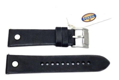 Fossil Black Genuine Leather 22mm Watch Band