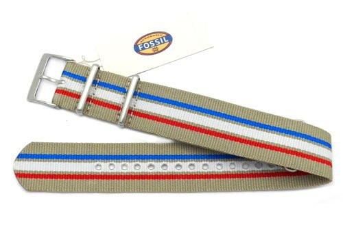 Genuine Fossil Stripe Beige, Red, White, and Blue Long Nylon 22mm Watch Strap