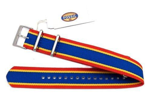 Genuine Fossil Stripe Red, Yellow, and Blue Long Nylon 22mm Watch Strap