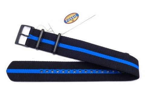 Genuine Fossil Stripe Black and Blue Long Nylon 22mm Watch Strap