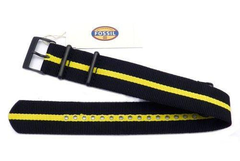 Genuine Fossil Stripe Black and Yellow Long Nylon 22mm Watch Strap