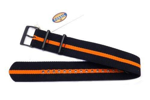 Genuine Fossil Stripe Black and Orange Long Nylon 22mm Watch Strap