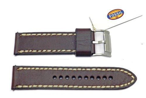Fossil Brown Genuine Leather 24mm Watch Band With White Stitching