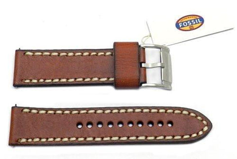 Fossil Tan Genuine Leather 24mm Watch Band With White Stitching