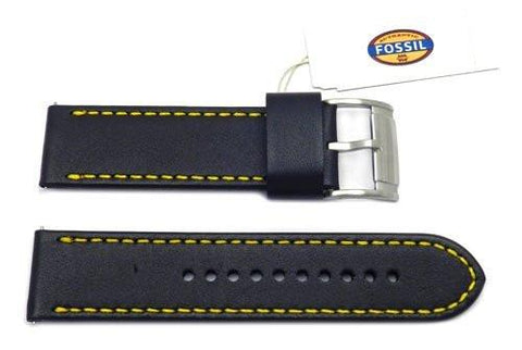 Fossil Black Genuine Smooth Leather 24mm Watch Band With Yellow Stitching