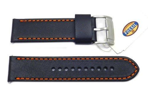Fossil Black Genuine Smooth Leather 24mm Watch Band With Orange Stitching