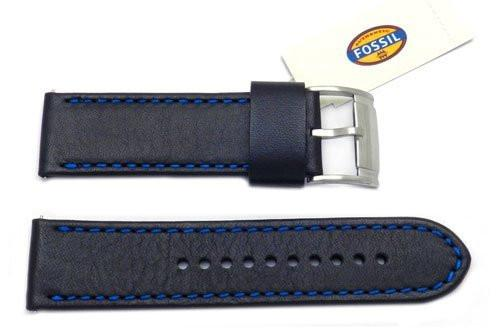 Fossil Black Genuine Smooth Leather 24mm Watch Band With Blue Stitching