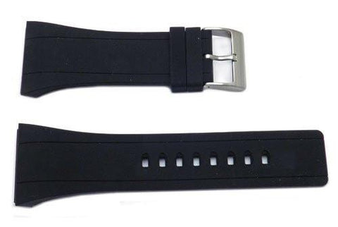 Kenneth Cole 30mm Black Polyurethane Watch Band With Silver Buckle