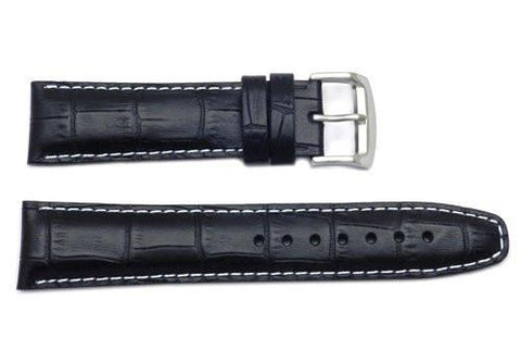 Citizen Black 22mm Crocodile Grain Leather Watch Band