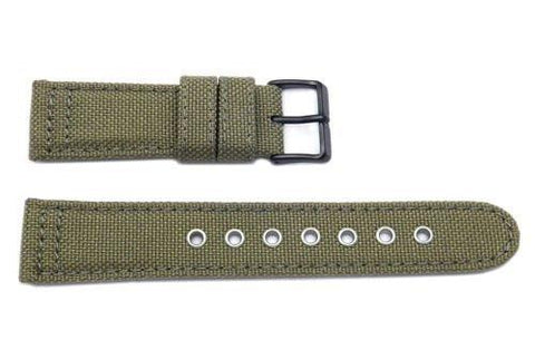 Genuine Citizen Olive Nylon and Leather 22mm Watch Strap