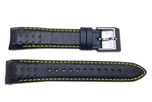Seiko Black and Yellow Stitching Sportura 21mm Watch Strap
