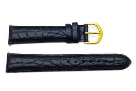 Timex Black Crocodile Grain 18mm Watch Band