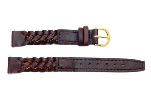 Timex Ladies Long Brown Woven Leather Watch Band