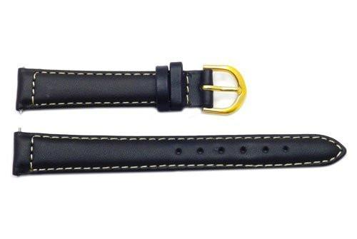 Timex Black Leather With White Contrast Stitching Watch Strap