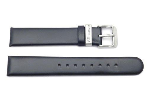 Kenneth Cole Genuine Smooth Black Leather Round Tip 17mm Watch Strap