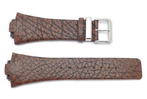 Kenneth Cole Genuine Textured Leather Brown Square Tip Watch Band