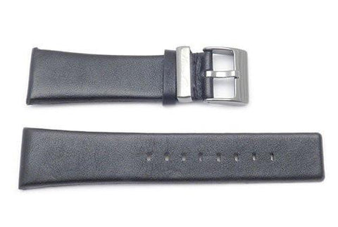 Kenneth Cole Genuine Matte Black Leather Square Tip 24mm Watch Strap