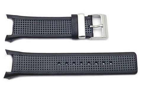 Kenneth Cole Genuine Leather And Rubber Black 28mm Watch Strap Combo