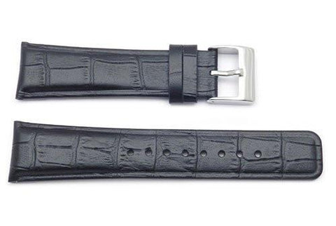 Kenneth Cole Genuine Leather Black Crocodile Grain Square Tip 24mm Watch Strap