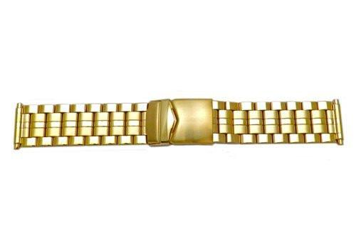 Hadley Roma Mens Brushed And Polished Gold Tone Watch Bracelet