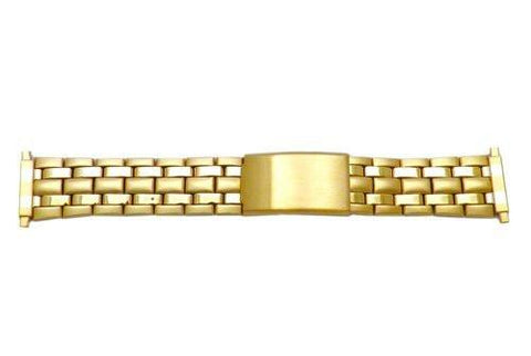 Hadley Roma Mens Brushed And Polished Gold Tone Straight Squeeze Watch Bracelet