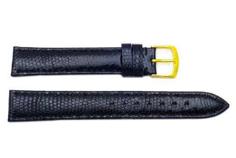 Hadley Roma Genuine Java Lizard Black Long Length Watch Band