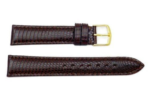 Hadley Roma Ladies Genuine Java Lizard Brown Watch Band