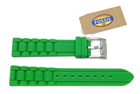 Fossil Green Silicone Link Style 18mm Watch Band