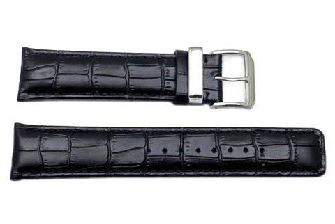 Kenneth Cole Reaction Genuine Leather Black Crocodile Grain Square Tip 22mm Watch Strap