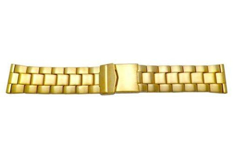 Hadley Roma Gold Tone Solid Wide Metal Link Design Watch Bracelet