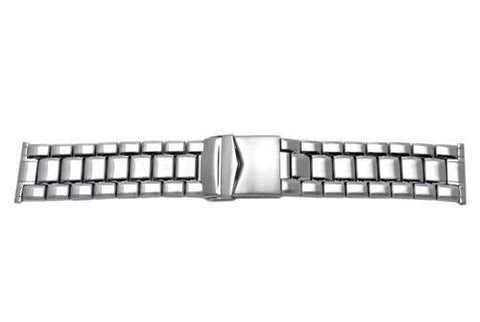 Hadley Roma Stainless Steel Wide Metal Link Design Watch Bracelet