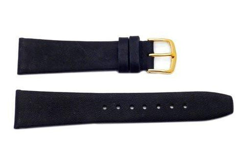 Hadley Roma Black Mens' Genuine Calfskin Flat Watch Band