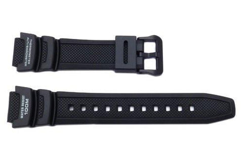 Genuine Casio Black Resin 25.5/18mm Watch Strap With Black Buckle - 10360816