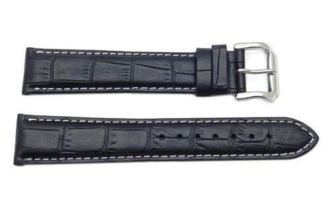 Genuine Square Crocodile Grain Leather Black Watch Strap