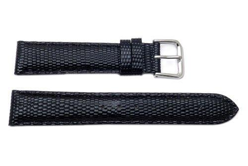 Genuine Textured Leather Lizard Grain Black Watch Band