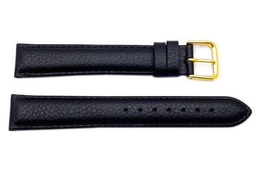 Genuine Long Textured Leather Black Watch Strap